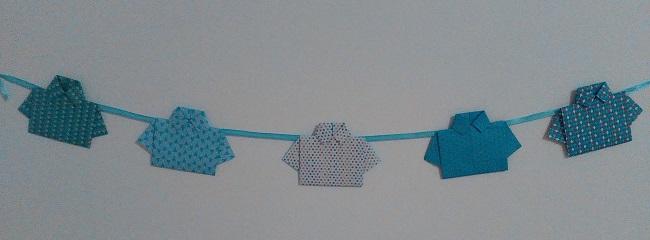 diy guirlande de chemises en origami roster con. Black Bedroom Furniture Sets. Home Design Ideas